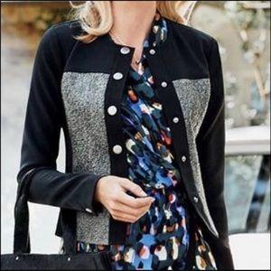 CAbi Mixed Media Black Olive Snap Moto Jacket